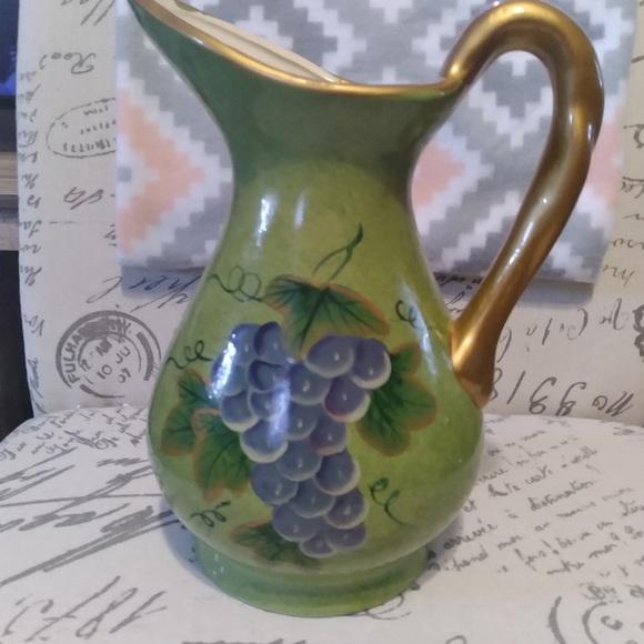 Vintage green gold grape pitcher
